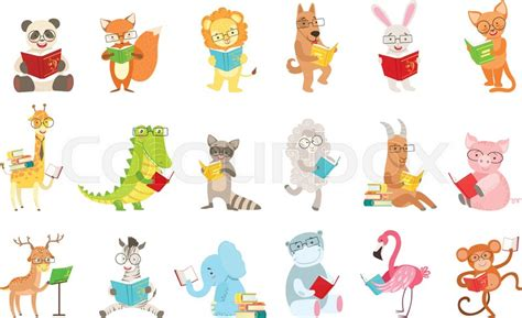 cute animal characters reading books stock vector