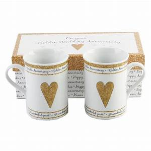 50th, Golden, Wedding, Anniversary, Gift, Set, Ceramic, Mugs, By, Happy, Homewares