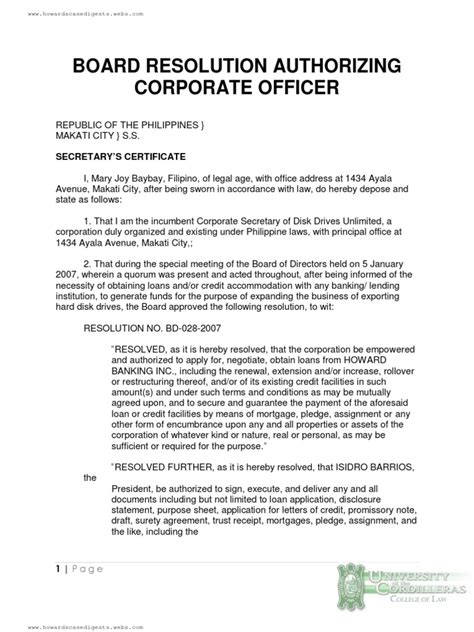 corporate resolution template board resolution authorizing corporate officer loans credit finance