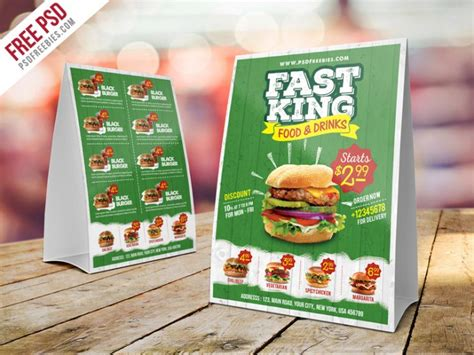 Table Restaurant Menu by Fast Food Menu Table Tent Template Psd Psd