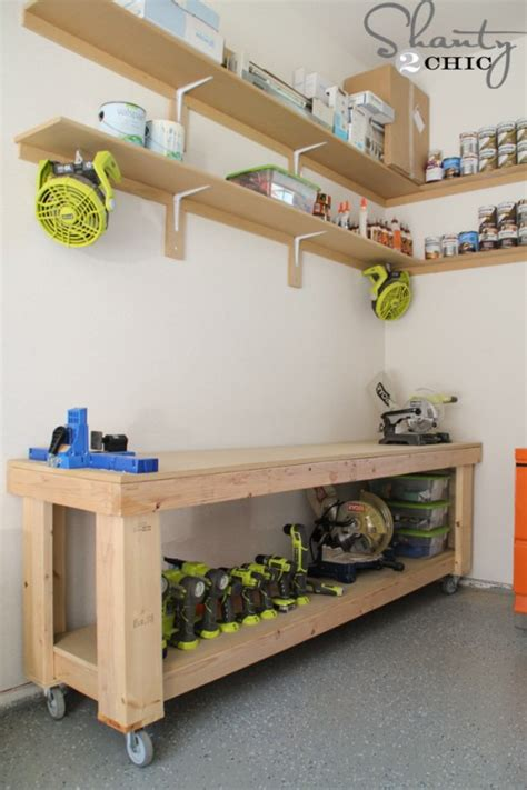 how to make a work table diy workbench free plans shanty 2 chic