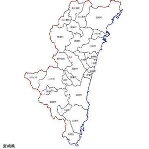 宮崎県:宮崎県の市町村地図