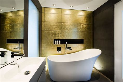 gold wall bathroom bath sink mirror modern home