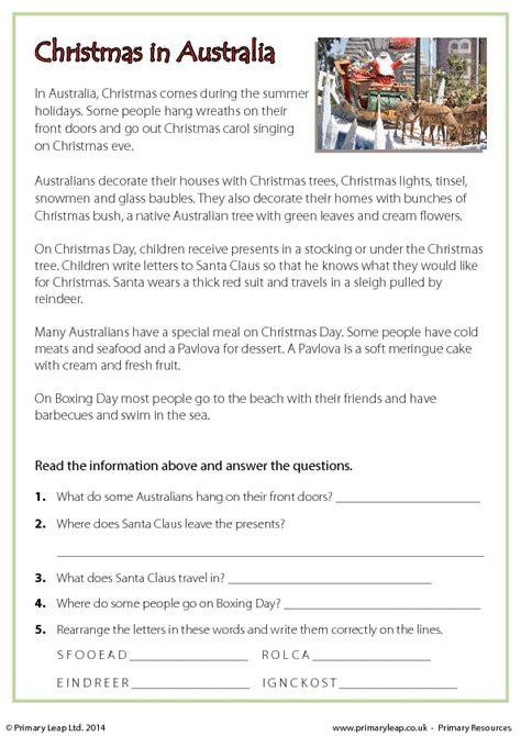 reading comprehension christmas  australia