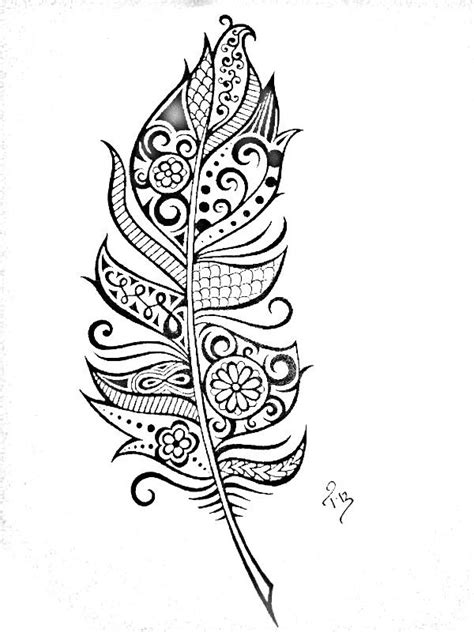 Pin by Chloe Zigler on Coloring(B&W) | Henna feather, Feather tattoos, Feather drawing