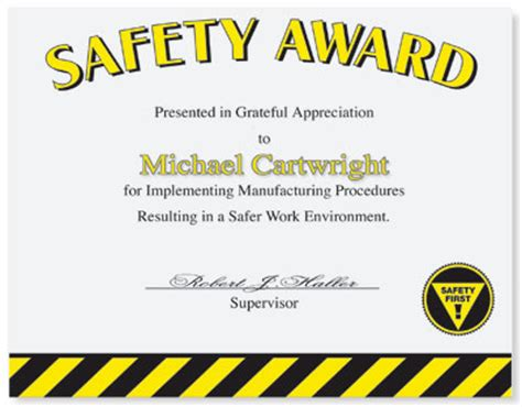 Safety Certificate Template by Safety Recognition Paperdirect
