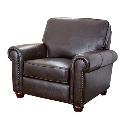abbyson living leather arm chair in espresso ch