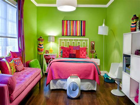 Young Adult Bedroom Design, Pink And Lime Green Girls