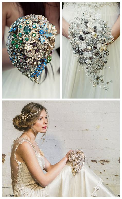 Vintage brooch wedding bouquets handmade in the UK by