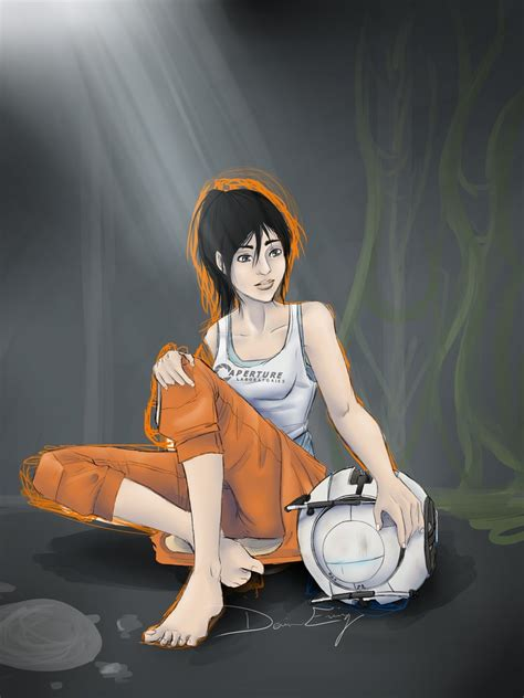 Portal 2 Chell And Wheatley 2012 Wip By Mirageflames On