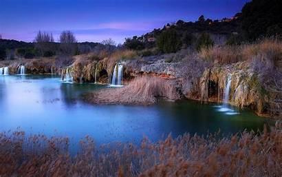 Spain Landscape Village Evening Waterfall Nature Lake