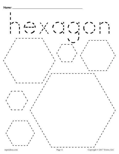 hexagons tracing worksheet tracing shapes worksheets