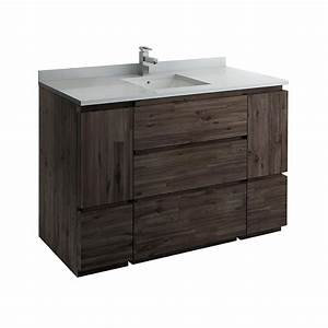 Fresca, Formosa, 54, In, Modern, Vanity, In, Warm, Gray, With, Quartz, Stone, Vanity, Top, In, White, With