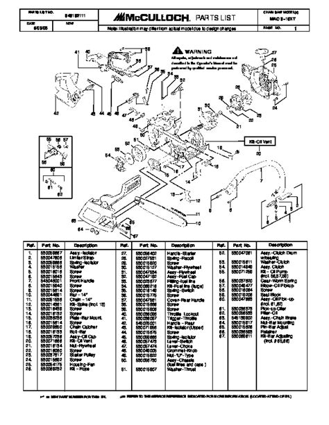 McCulloch Mac 3-16XT Chainsaw Service Parts List, 2006