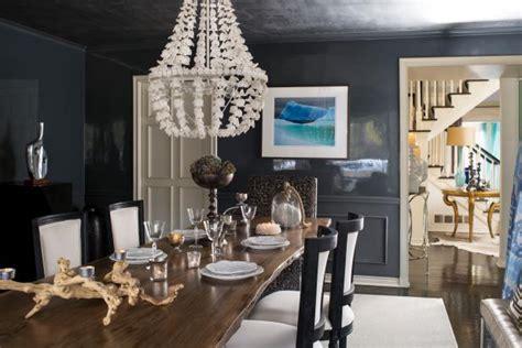 charcoal gray dining room boasts high gloss walls hgtv