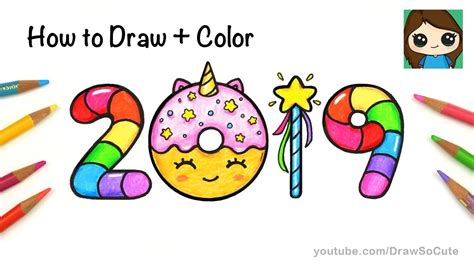 How To Draw + Color 2019 Bubble Numbers
