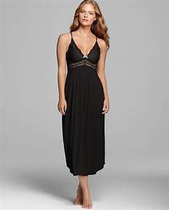 Eberjey Collette Long Nightgown in Black | Lyst