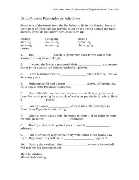 printables participles worksheet kigose thousands of