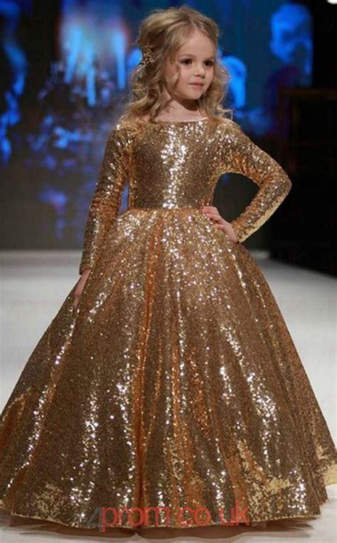 jewel long sleeve gold kids prom dresses chk promcouk
