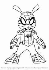 Spider Ham Draw Ultimate Spiderman Drawing Cartoon Tutorial Learn Step Getdrawings sketch template