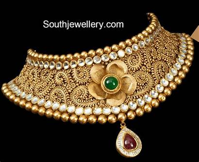 Choker Gold Antique Bridal Necklace Jewellery Designs