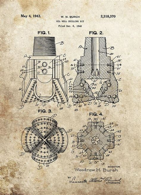 1940s drill bit patent drawing by dan sproul
