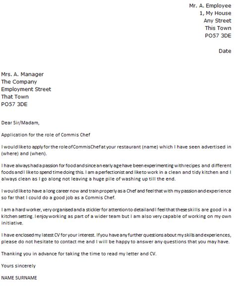 Cover Letter For Chef Application by Commis Chef Cover Letter Exle Icover Org Uk