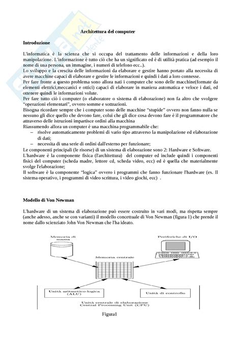 Dispensa Informatica Di Base by Architettura Computer Appunti Di Informatica