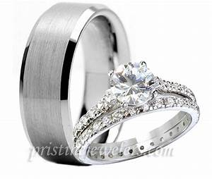 3pc His Hers Tungsten 925 Sterling Silver Engagement