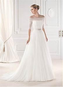 elegant off the shoulder a line wedding dress with With a line wedding dress