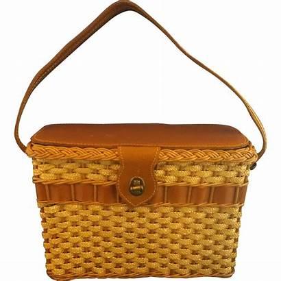 Bags Wicker Purses Basket Leather Rubylane