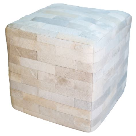 Cowhide Cube Ottoman - cowhide cube ottoman white