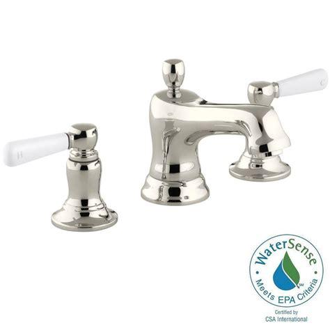 Kohler Bancroft Faucet Polished Nickel by Kohler Bancroft 8 In Widespread 2 Handle Low Arc Water