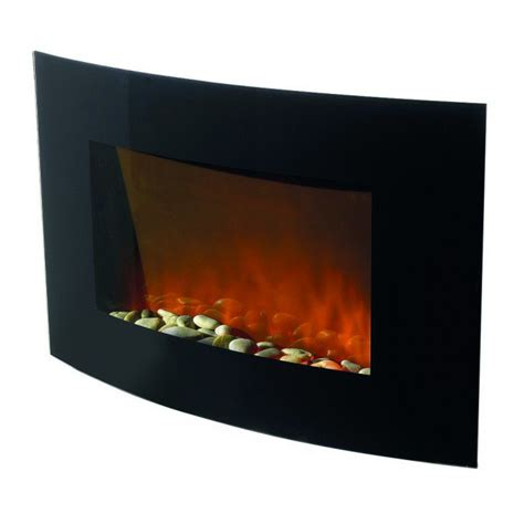 hyundai wall mounted electric fire black curved glass