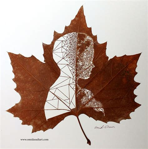 create leaf art  carefully cutting intricate scenes