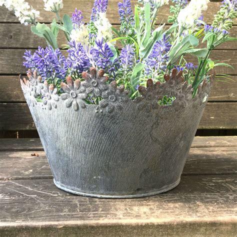 Vintage Style French Grey Set of 2 Round Metal Garden