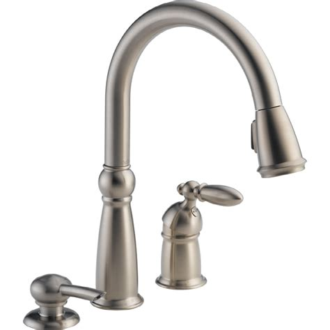 kitchen faucet 3 shop delta stainless 1 handle deck mount pull