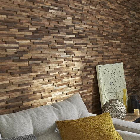idee tapisserie chambre plaquette de parement bois recyclé marron boho leroy merlin