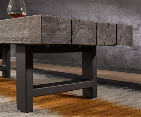 Metall Möbel by Couchtisch Blokk 147x55 Akazie Platin Massivholz Metall