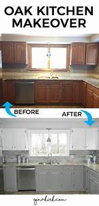 our oak kitchen makeover With kitchen cabinets lowes with diy framed wall art
