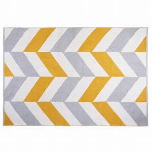 Tapis Jaune Maison Du Monde : tapis graphique en coton gris et jaune 180x120cm joy ~ Zukunftsfamilie.com Idées de Décoration