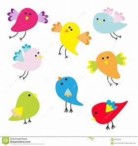 Cute Flying Bird Illustration Set Of Cartoon Birds Vector ...