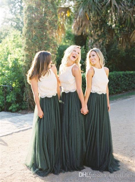 modest forest green tulle bridesmaid dresses