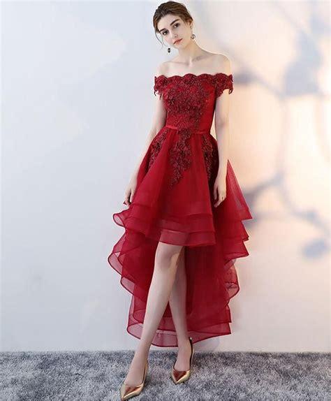 Elegant Burgundy Tulle Lace Off Shoulder Short Prom Dress ...