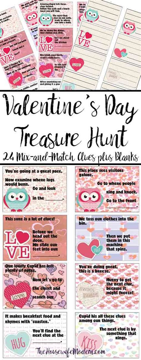 printable valentines day treasure hunt clues blanks