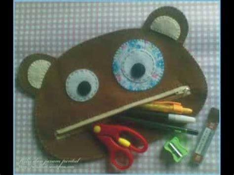 membuat tempat pensil dari kain flanel