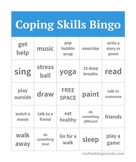 Coping Skills Bingo  Counseling  Pinterest  Coping Skills, Therapy And Counselling