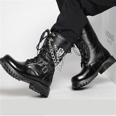 Autumn Winter Knee High Men Leather Shoes Male Fashion