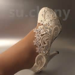 chagne colored wedding shoes 3 quot 4 quot heel white ivory lace pearls wedding shoes pumps size 5 11 ebay