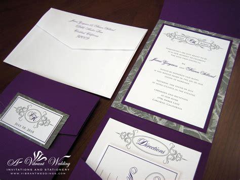 purple  gray wedding invitation  vibrant wedding
